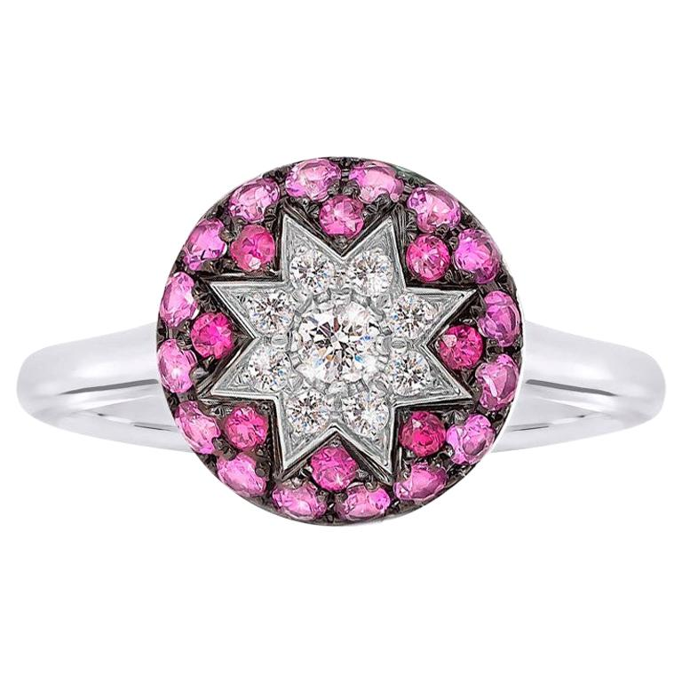 Rare Customize Ruby Pink Sapphire Diamond White Gold Ring For Sale