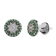 Rare Customize Tsavorite Diamond White Gold Earrings