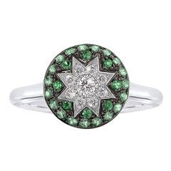 Rare Customize Tsavorite Diamond White Gold Ring