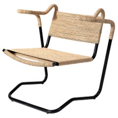 Rare Dan Johnson 2750 Chair in Steel with Ecru Cording