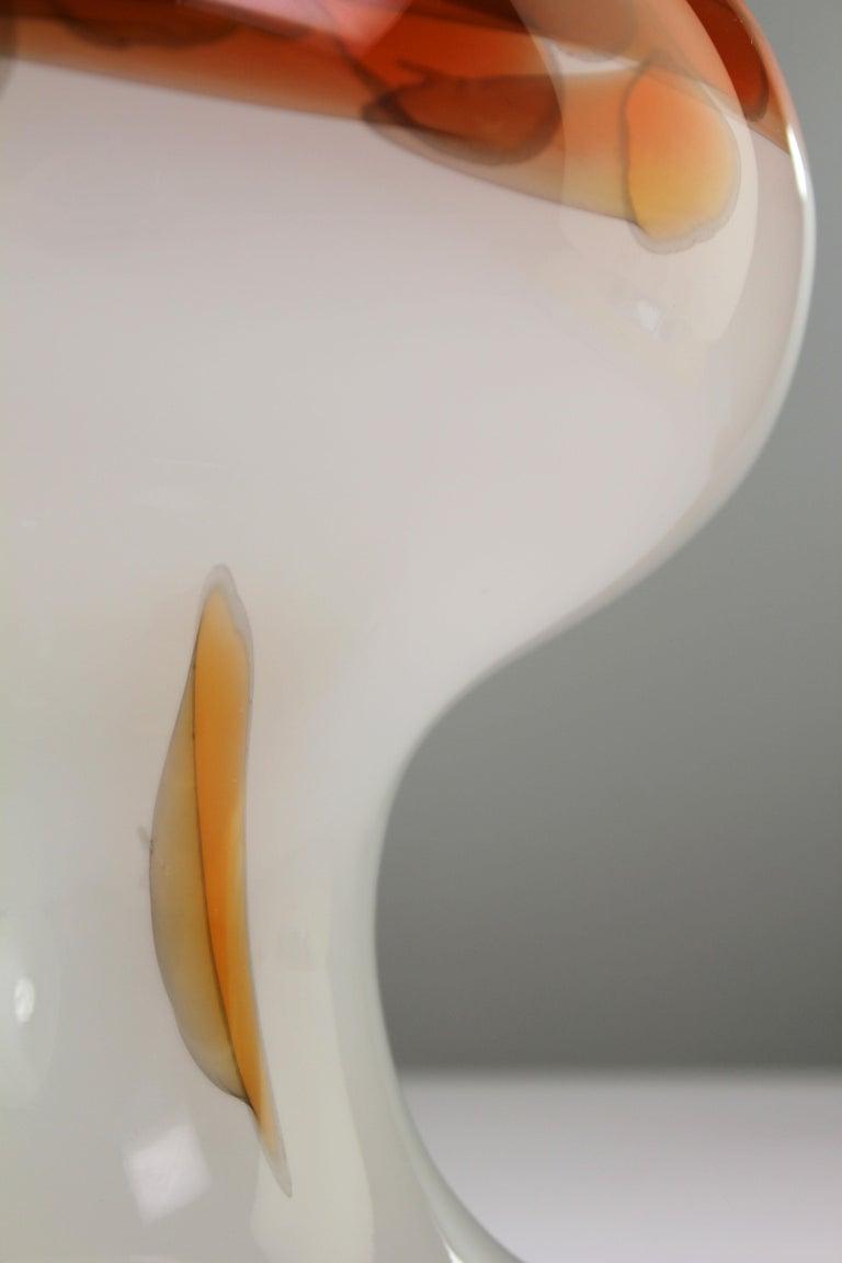 Rare Danish Modern Opaline Cascade Art Glass Table Lamp by Holmegaard, 1970 For Sale 3