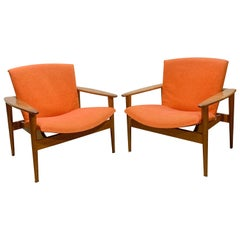 Rare Danish Modern Teak Lounge Chairs (Pair)