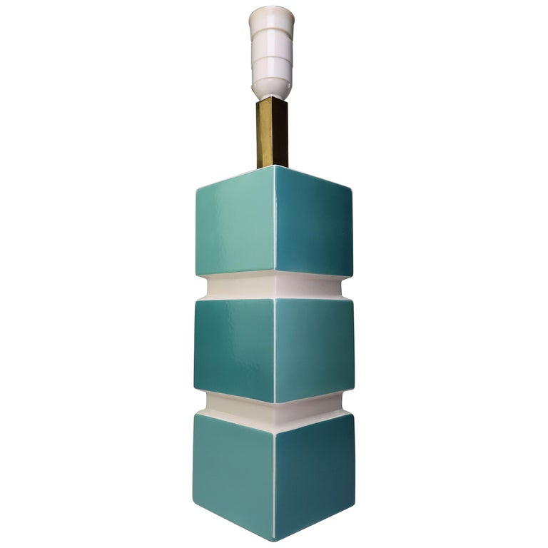 Rare 1950s Danish Modern Turquoise Aqua White Porcelain Table Lamp by Søholm For Sale