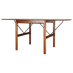 Rare Danish Petite Teak Architects Embassy Drop-Leaf Tea Table Extending Folding