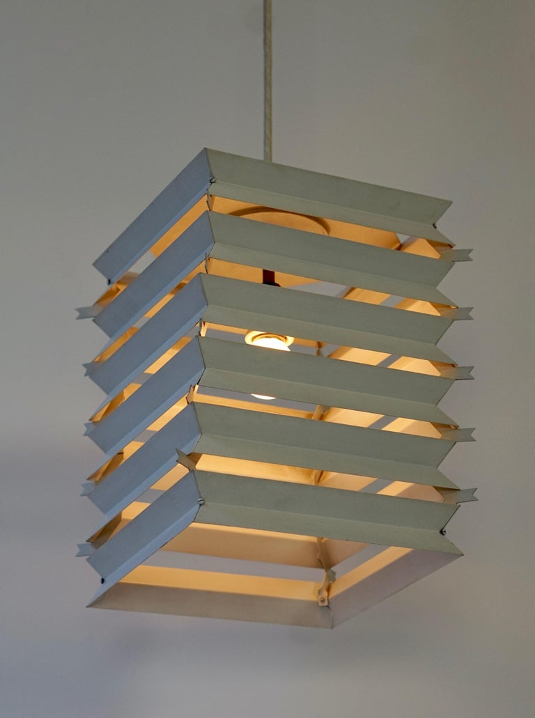 Mid-Century Modern Rare Danish White Metal Ceiling Pendant, Mid-1960s For Sale