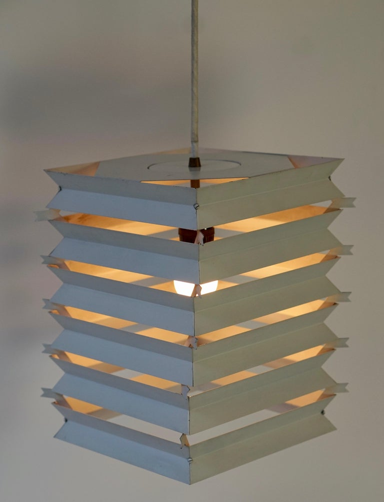 Rare Danish White Metal Ceiling Pendant, Mid-1960s In Good Condition For Sale In Antwerp, BE