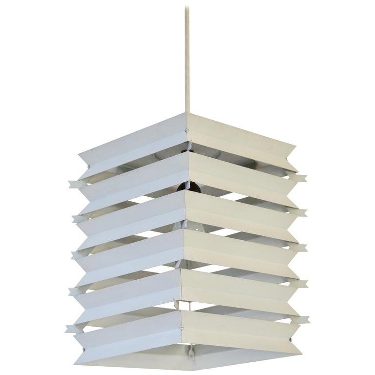 Rare Danish White Metal Ceiling Pendant, Mid-1960s For Sale