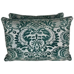 Rare Dark Greenish Black and Silver Fortuny Style Pillows
