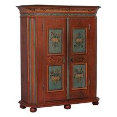 Rare Dated 1813 Hand Painted Pine Austrian Wardrobe or Bauernschrank Cupboard