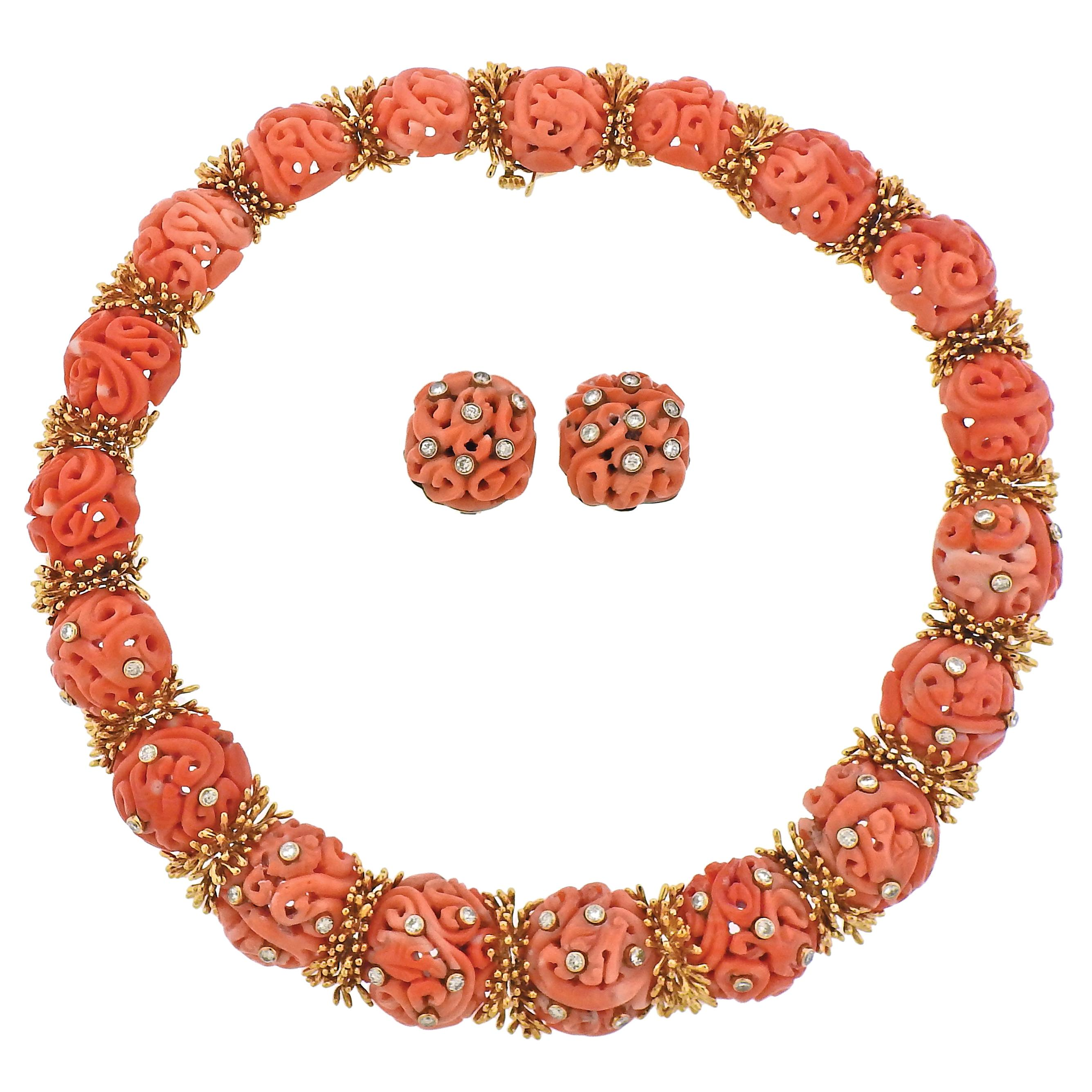 Rare David Webb 1960s Diamond Carved Coral Gold Earrings Necklace Set