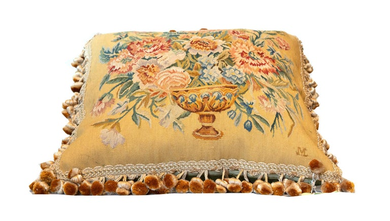 Vegetable Dyed Rare Decorative Pillows, Elegant French Style Aubusson The Pillow Cushion Covers For Sale