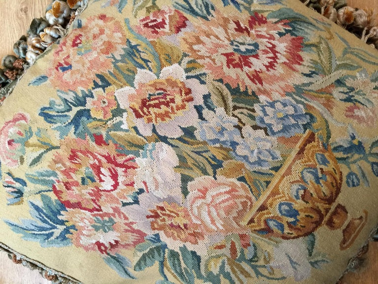 Rare Decorative Pillows, Elegant French Style Aubusson The Pillow Cushion Covers For Sale 2