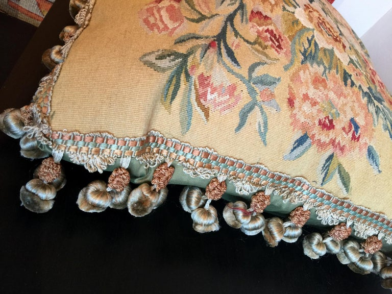 Rare Decorative Pillows, Elegant French Style Aubusson The Pillow Cushion Covers For Sale 4