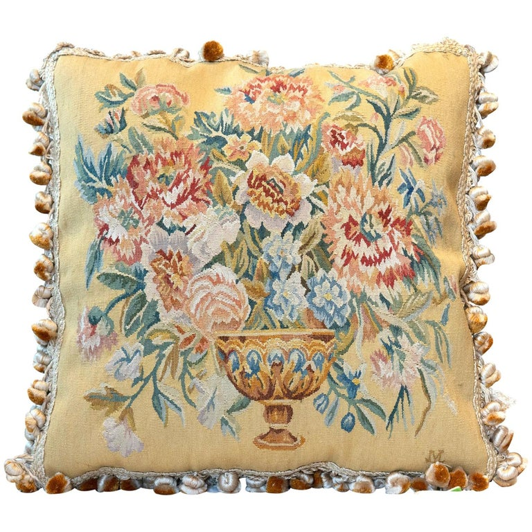 Rare Decorative Pillows, Elegant French Style Aubusson The Pillow Cushion Covers For Sale
