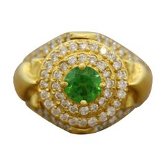 Rare Demantoid Garnet Diamond Gold Ring