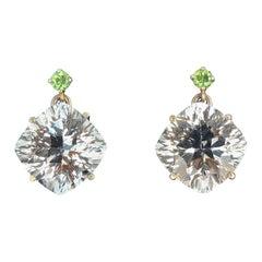 Rare Demantoid Garnets and Silver White Topaz Dangle Sterling Silver Earrings