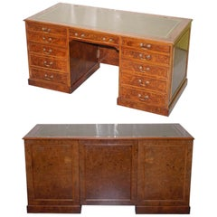 Rare Designed to House Computer Panelled Burr Walnut Green Leather Partner Desk