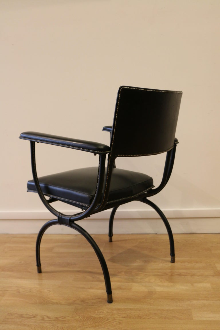 Rare Desk and Armchair by Jacques Adnet, Stitched Leather and Skaï, 1950s For Sale 8