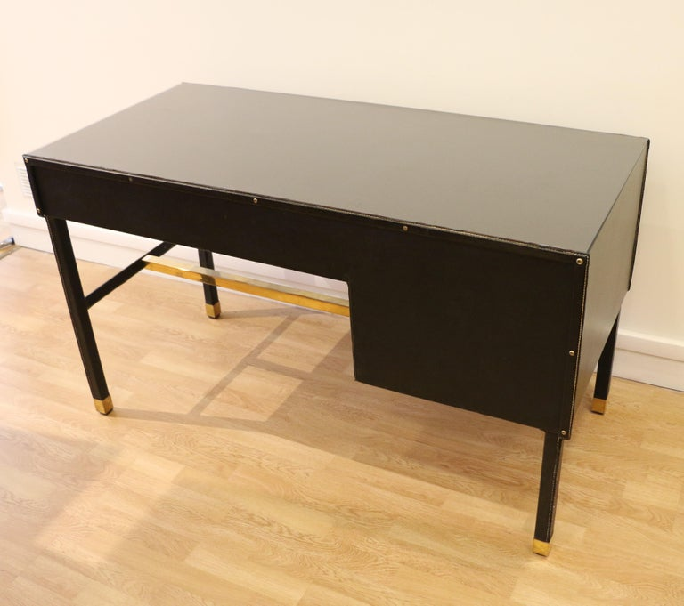 Rare Desk and Armchair by Jacques Adnet, Stitched Leather and Skaï, 1950s For Sale 2