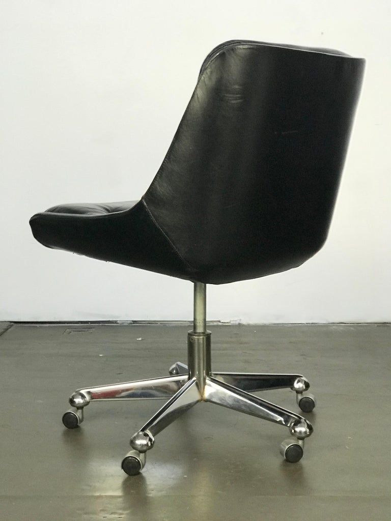 Mid-20th Century Mid Century Modern Desk Chair in Leather by Jean Gillon  For Sale