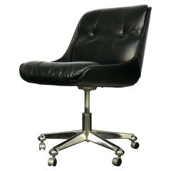 Desk Chair in Leather & Chrome by Jean Gillon for Italma Wood Art