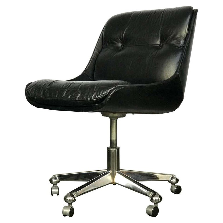 Mid Century Modern Desk Chair in Leather by Jean Gillon  For Sale