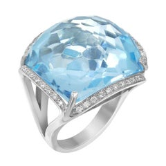Rare Diamond Certified Blue Topaz Gold 18 Karat Statement Ring