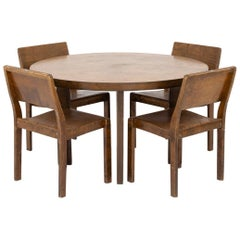 Rare Dining Set with Table and Four Chairs by Alvar Aalto