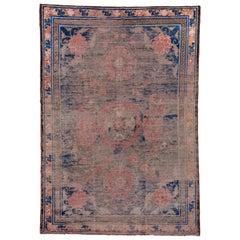 Rare Distressed Ningxia Chinese Silk Rug, Royal Blue and Pink Tones
