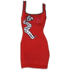 "Rare Documented Alaïa S/S 1992 ""Mon Coeur est à Papa"" knit bodycon mini dress"