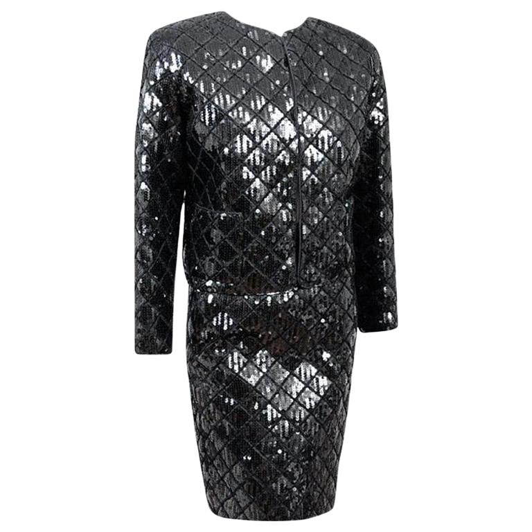 Rare Documented Museumpiece CHANEL Black Quilted Sequin Jacket Skirt Suit