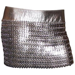 Rare Dolce & Gabbana Silver Metallic Leather Chainmail Chain Link Mini Skirt