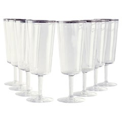 Rare Dorothy Thorpe Champagne Flutes with Silver Rim, Set of 8