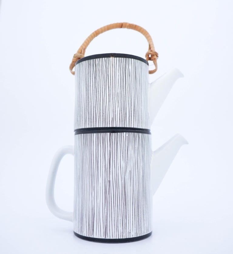 Scandinavian Modern Rare Double Teapot, Stig Lindberg Gustavsbergs Studio, Faience For Sale