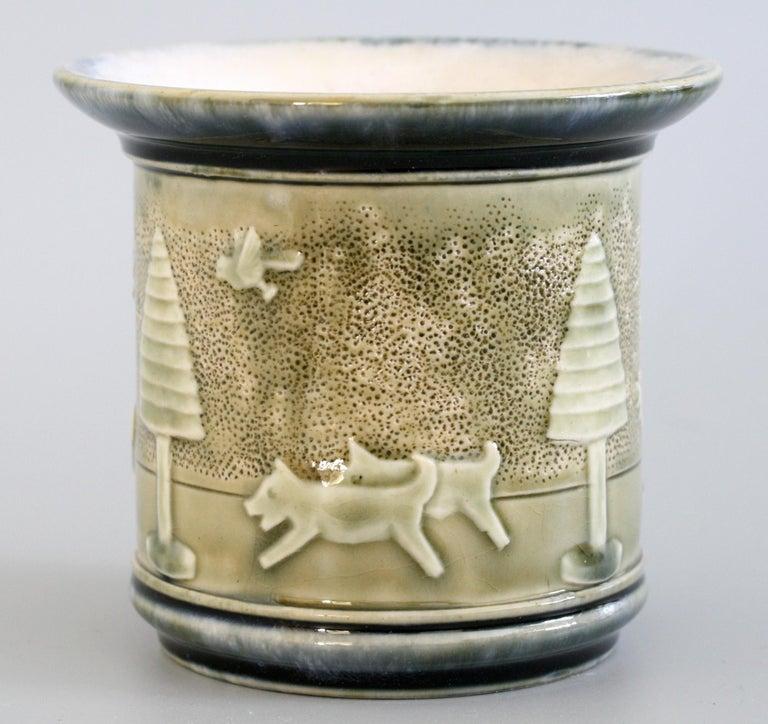 Art Nouveau Rare Doulton Lambeth Toys Pattern Art Pottery Vase by Miss Felton For Sale