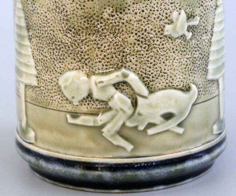 English Rare Doulton Lambeth Toys Pattern Art Pottery Vase by Miss Felton For Sale