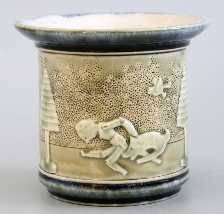Stoneware Rare Doulton Lambeth Toys Pattern Art Pottery Vase by Miss Felton For Sale
