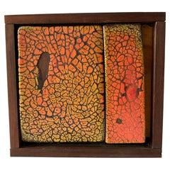 Rare Doyle Lane California Studio Glazed Two Tile Stoneware Signed Clay Painting