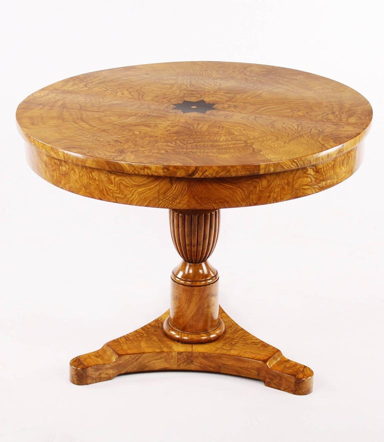 Polished Rare Drawing/Salon Room Table Early 19th Century, Biedermeier, circa 1820, Ash For Sale