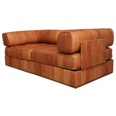 Rare Ds88 Cognac Leather Patchwork Love Seat De Sede Swiss