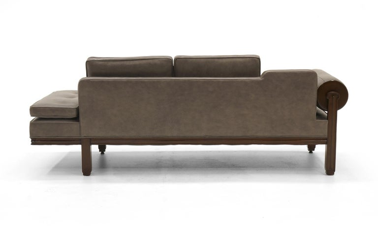 Mid-Century Modern Rare Dunbar Gray Leather Sofa Chaise, Expertly Reupholstered For Sale