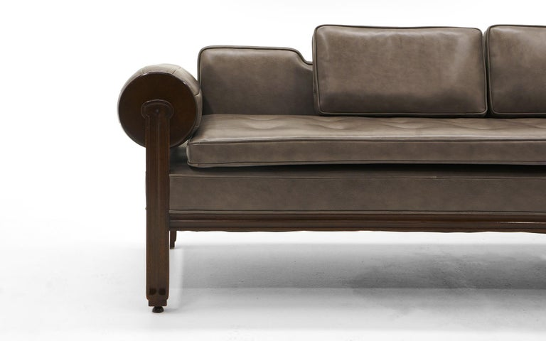 Rare Dunbar Gray Leather Sofa Chaise, Expertly Reupholstered In Excellent Condition For Sale In Kansas City, MO