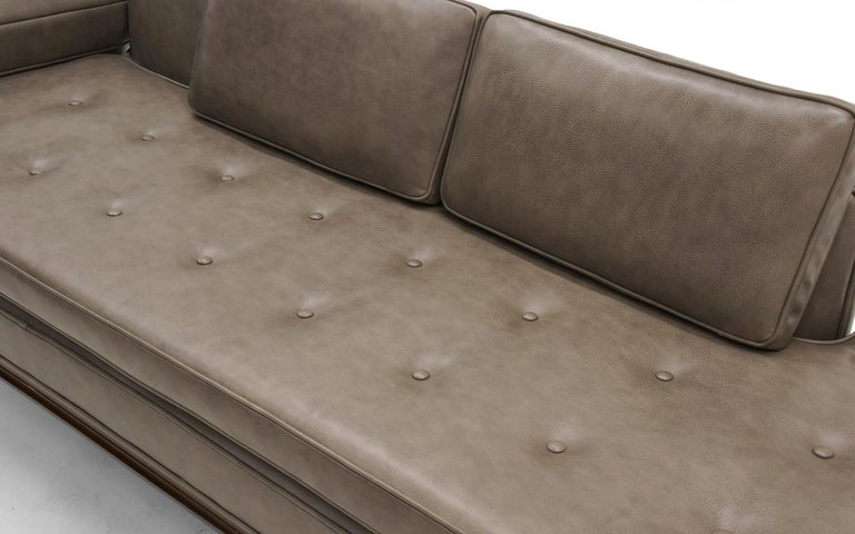 Mid-20th Century Rare Dunbar Gray Leather Sofa Chaise, Expertly Reupholstered For Sale