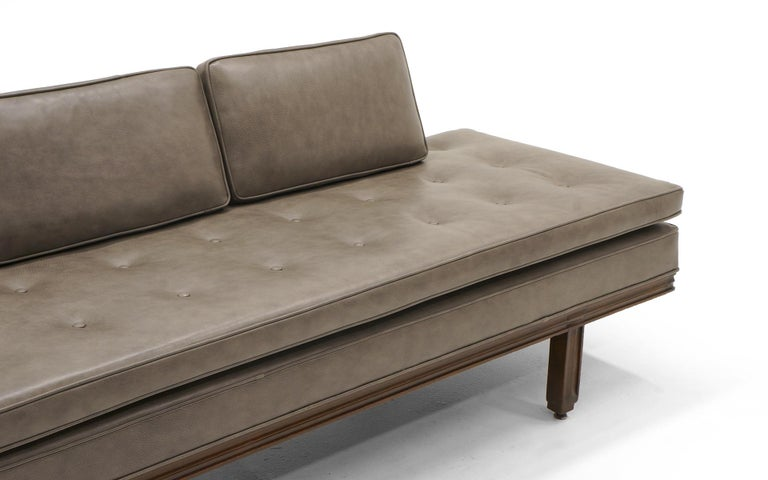 Rare Dunbar Gray Leather Sofa Chaise, Expertly Reupholstered For Sale 1