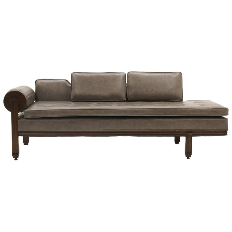 Rare Dunbar Gray Leather Sofa Chaise, Expertly Reupholstered For Sale