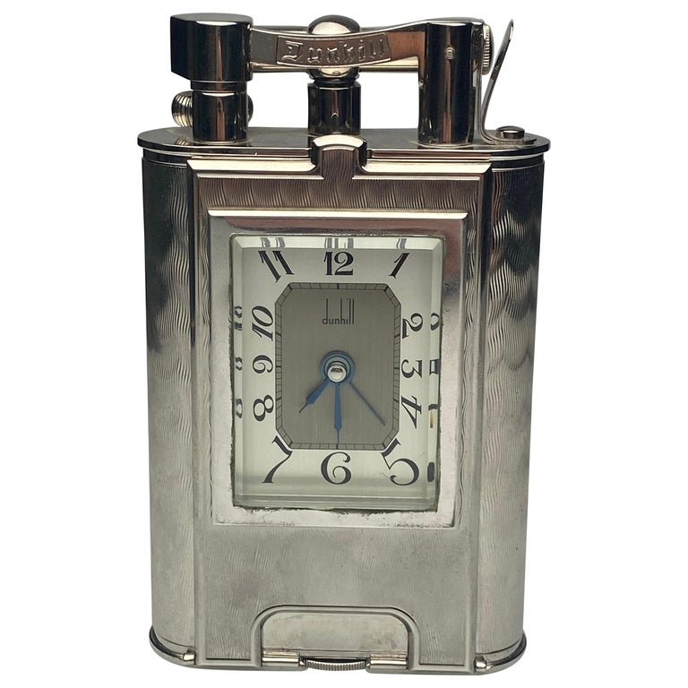 Rare Dunhill Charleston Lighter with Clock For Sale