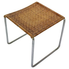 Rare Dutch Design Rattan and Chrome Footstool by W.H. Gispen, 1933-1936