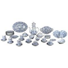 Rare Dutch Louis Regout Large 60-Piece Porcelain Blue Onion Table Service, 1890