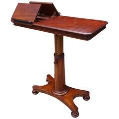 Rare Early 1800s Multi Adjustable Mahogany Georgian Reading Table or Side Table