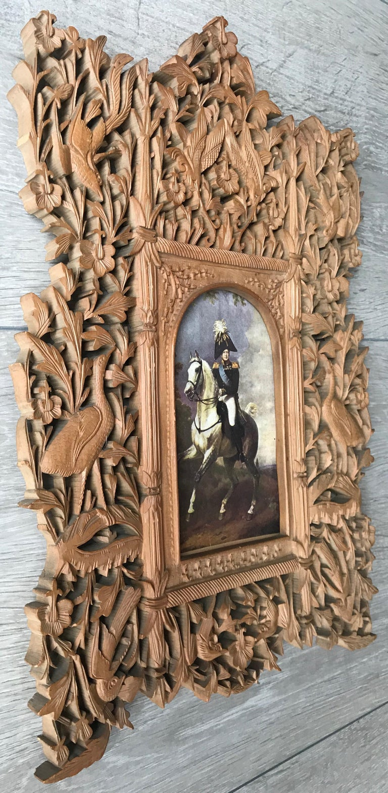 Folk Art Rare Early 1900s Finely Hand Carved Flowers and Animals Sculpture Picture Frame For Sale